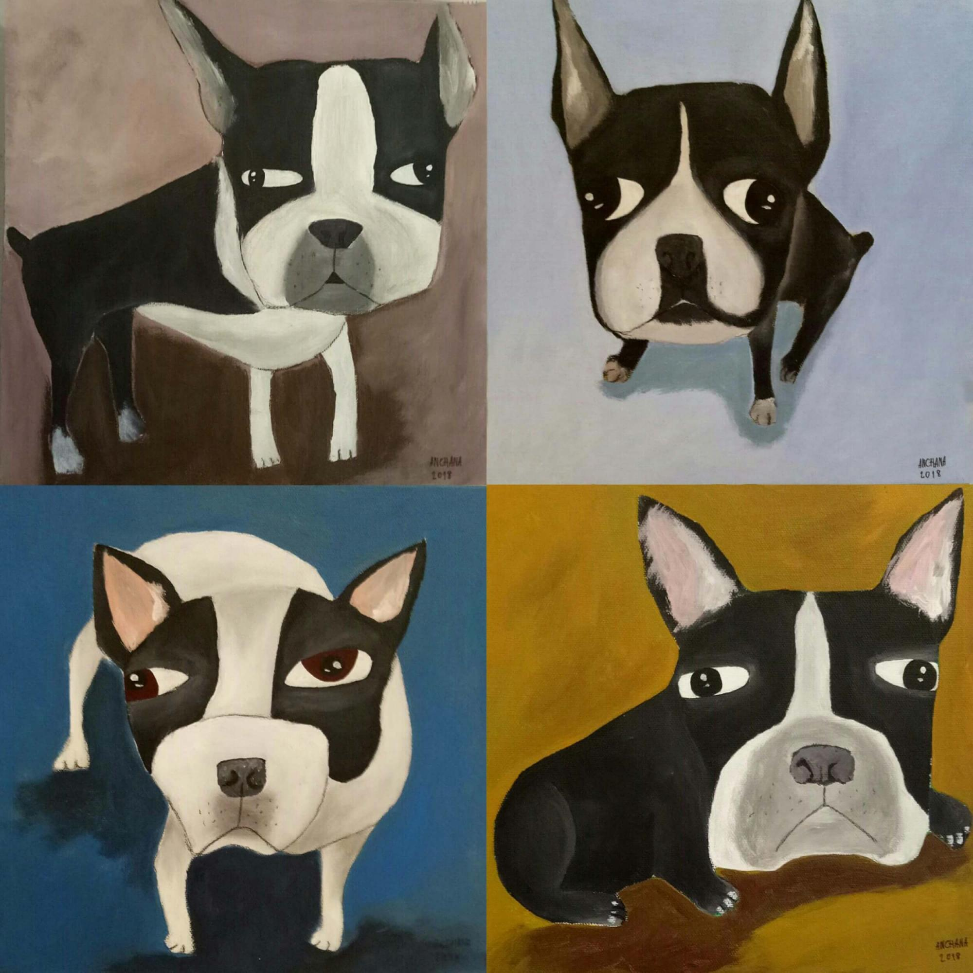 French Bulldog Series 法鬥系列 Anchana CHAREEAPAPORN 安恰娜‧恰麗亞琵朋 (Thailand, 1977-) acrylic on canvas 壓克力彩、畫布 50 x 50 cm 2018