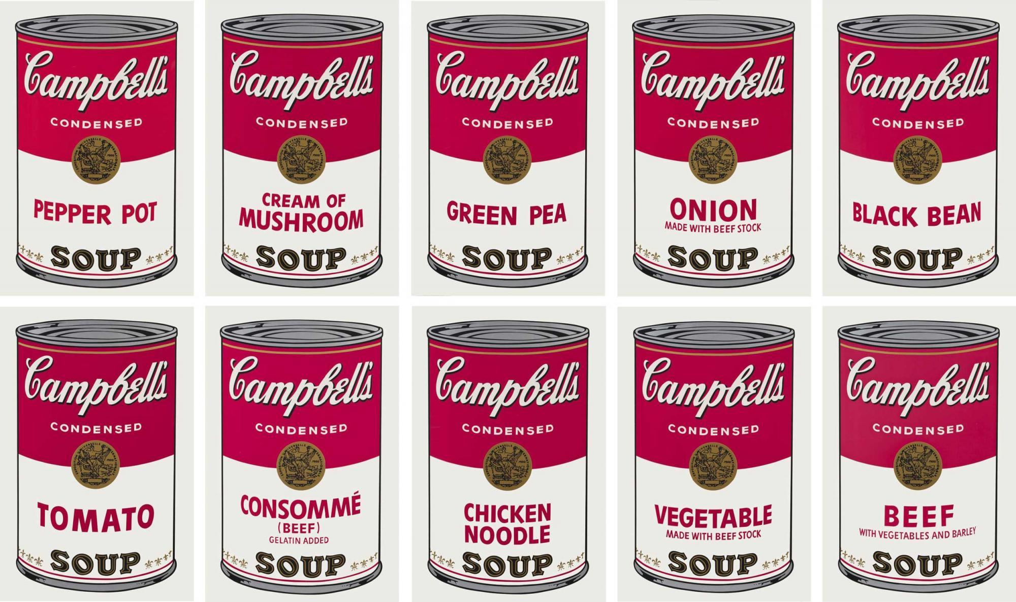 安迪 ∙ 沃荷(Andy Warhol) 《金寶湯之一(一套十幅)》 1968年作,絲網印刷紙本, 每幅:88.9 x 58.4 公分 估價:4,000,000 - 6,000,000港元