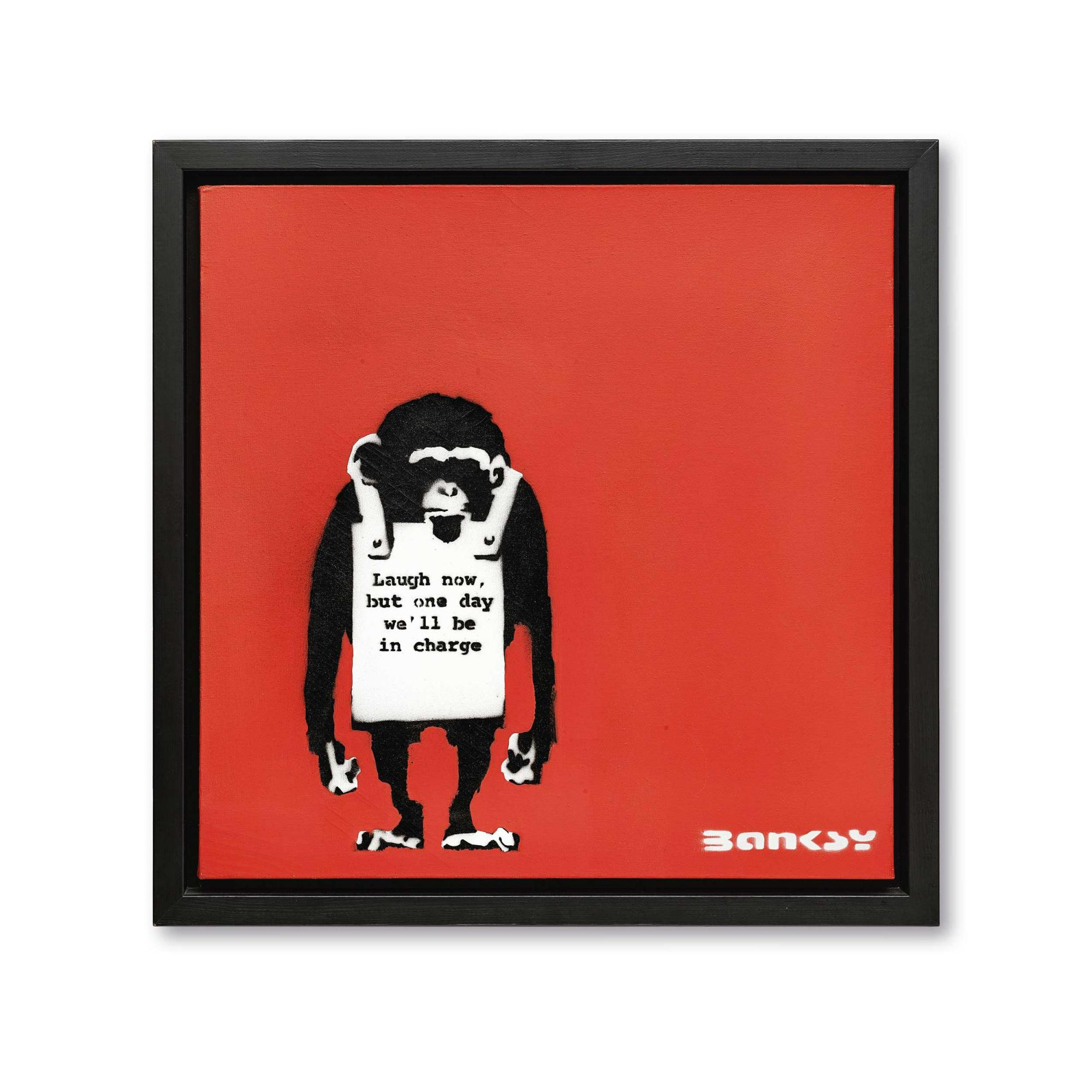 班克斯(Banksy) 《現在儘管笑吧,終有一天我們 將為主宰者》 2000年作,壓克力及模版噴塗畫布,61 x 61公分 估價:6,200,000 - 9,300,000港元