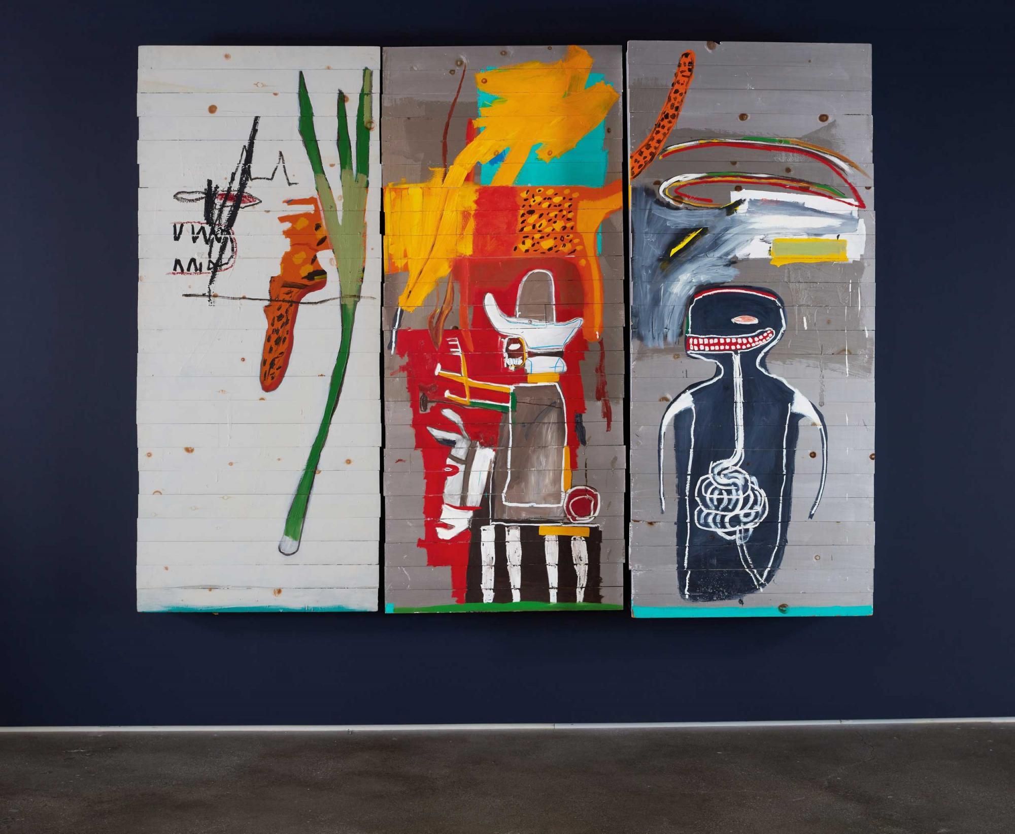 尚・米榭・巴斯基亞(Jean-Michel Basquiat)《無題》 1985年作,壓克力油彩筆木板,共三部分 217.2 x 275.6 x 30.5 公分 估價:255,000,000 – 350,000,000港元