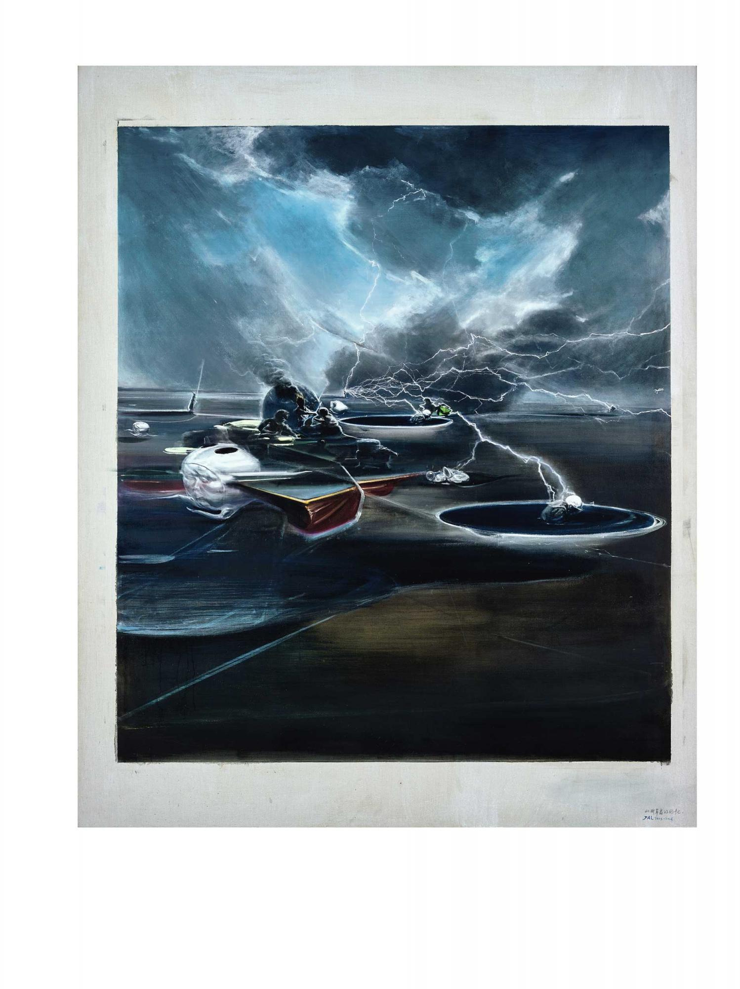 賈藹力 《北柳草島的回憶》 2013-2014年作,油畫畫布, 220 x 180 公分 估價:7,000,000 - 10,000,000港元