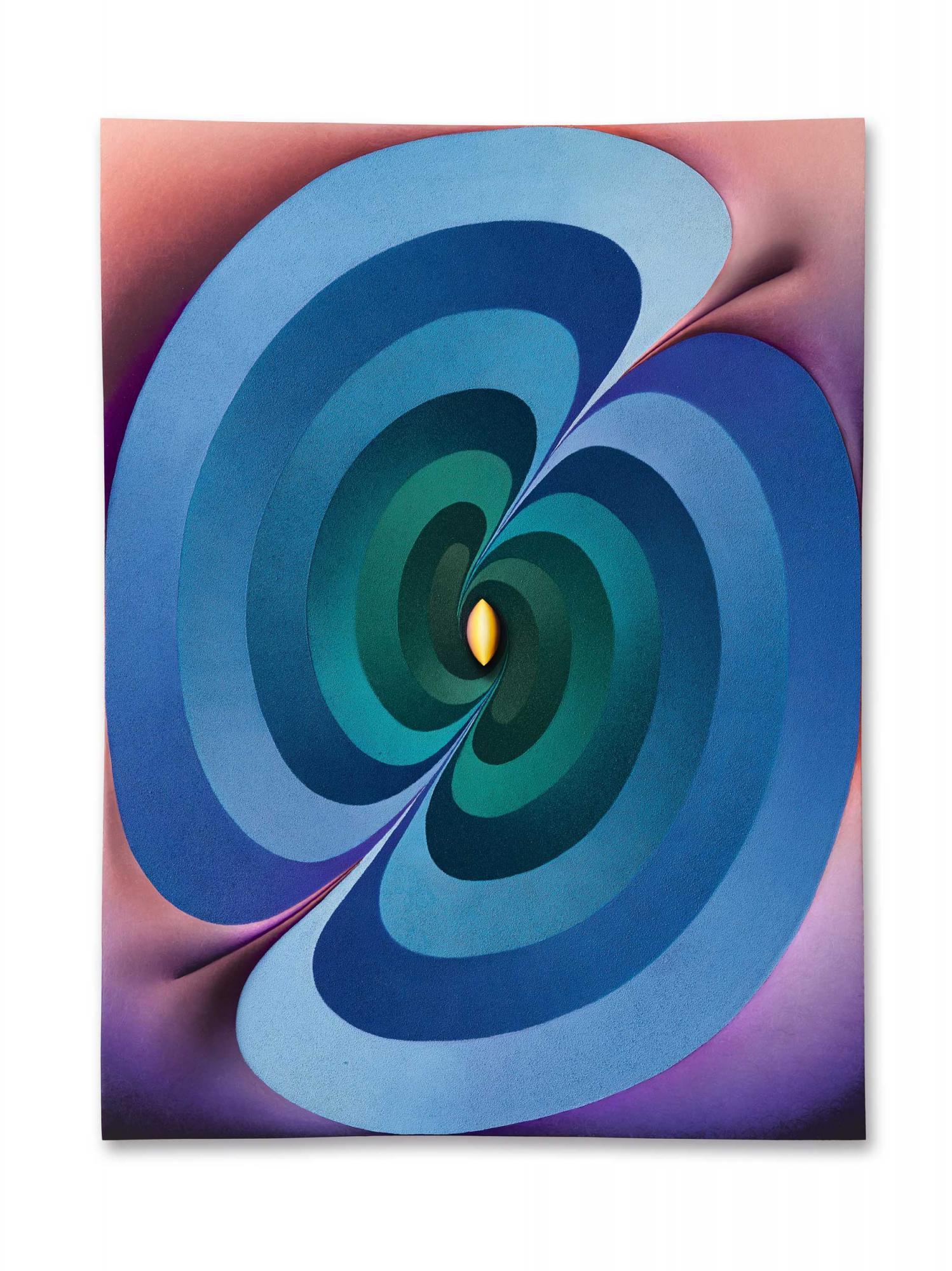 洛伊・霍洛韋爾(Loie Hollowell)《連接的林伽(黃,綠,藍,紫,粉紅色)》 2018年作,油彩、壓克力媒材、 鋸粉及高密度泡沫亞麻布,裱於木板 122 x 91.5 x 9.3 公分 估價:3,000,000 - 5,000,000港元