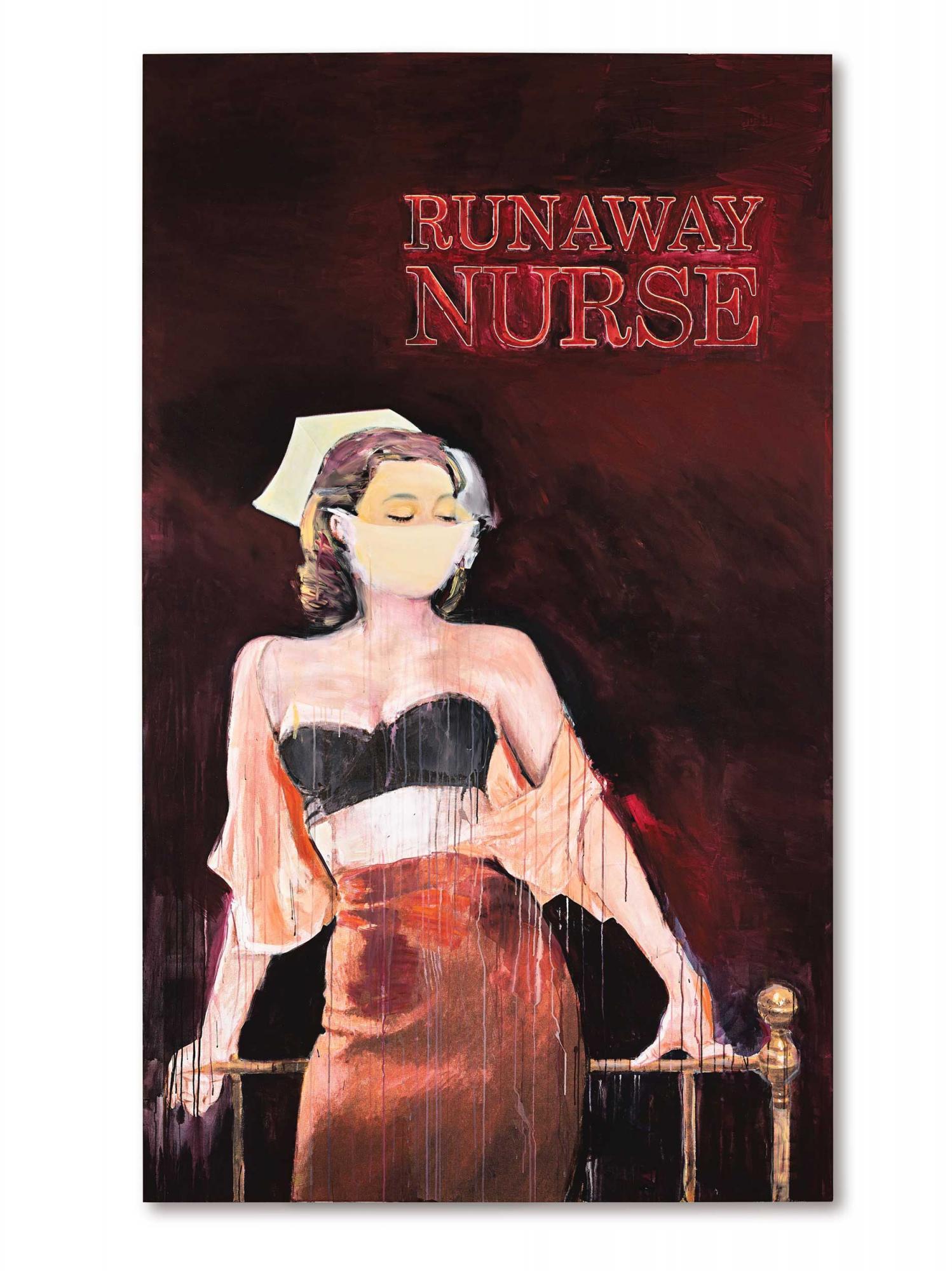 理查德 · 普林斯(Richard Prince)《逃脫的護士》 2005至2006年作,油墨及壓克力畫布,280 x 168 公分 估價:75,000,000 - 95,000,000港元