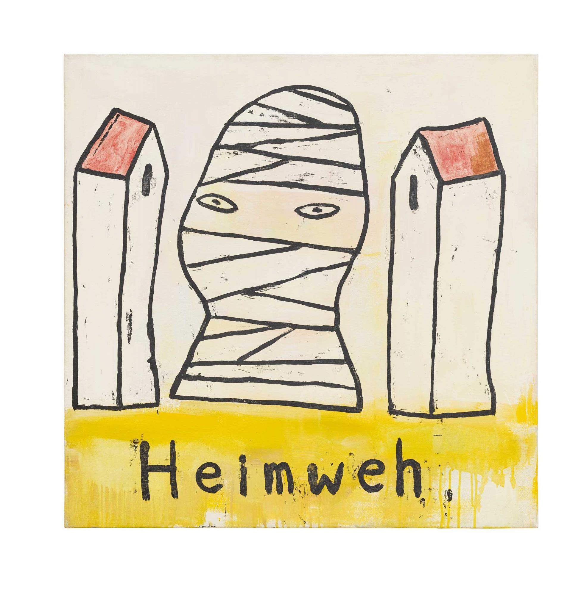 奈良美智《思鄉病》 1989年作,壓克力畫布, 90 x 90 公分 估價:2,000,000 - 3,000,000港元