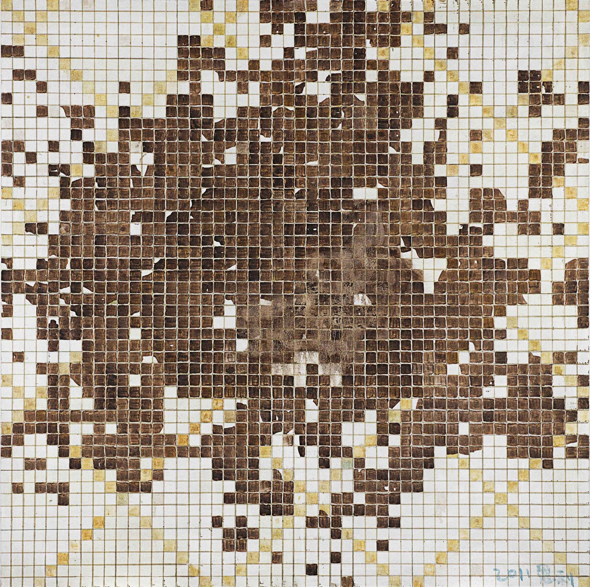張恩利《剝落的馬賽克3號》 2011年作,油畫畫布, 150 x 150 公分 估價:1,300,000 - 2,700,000港元
