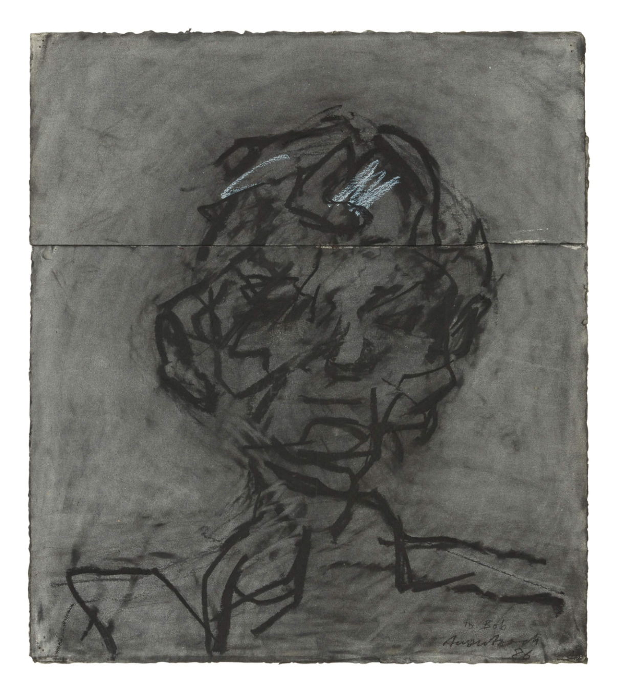 Lot 1- Frank Auerbach, Head of Robert Hughes, charcoal and white chalk on two joined pieces of paper, 1986, (2).jpg