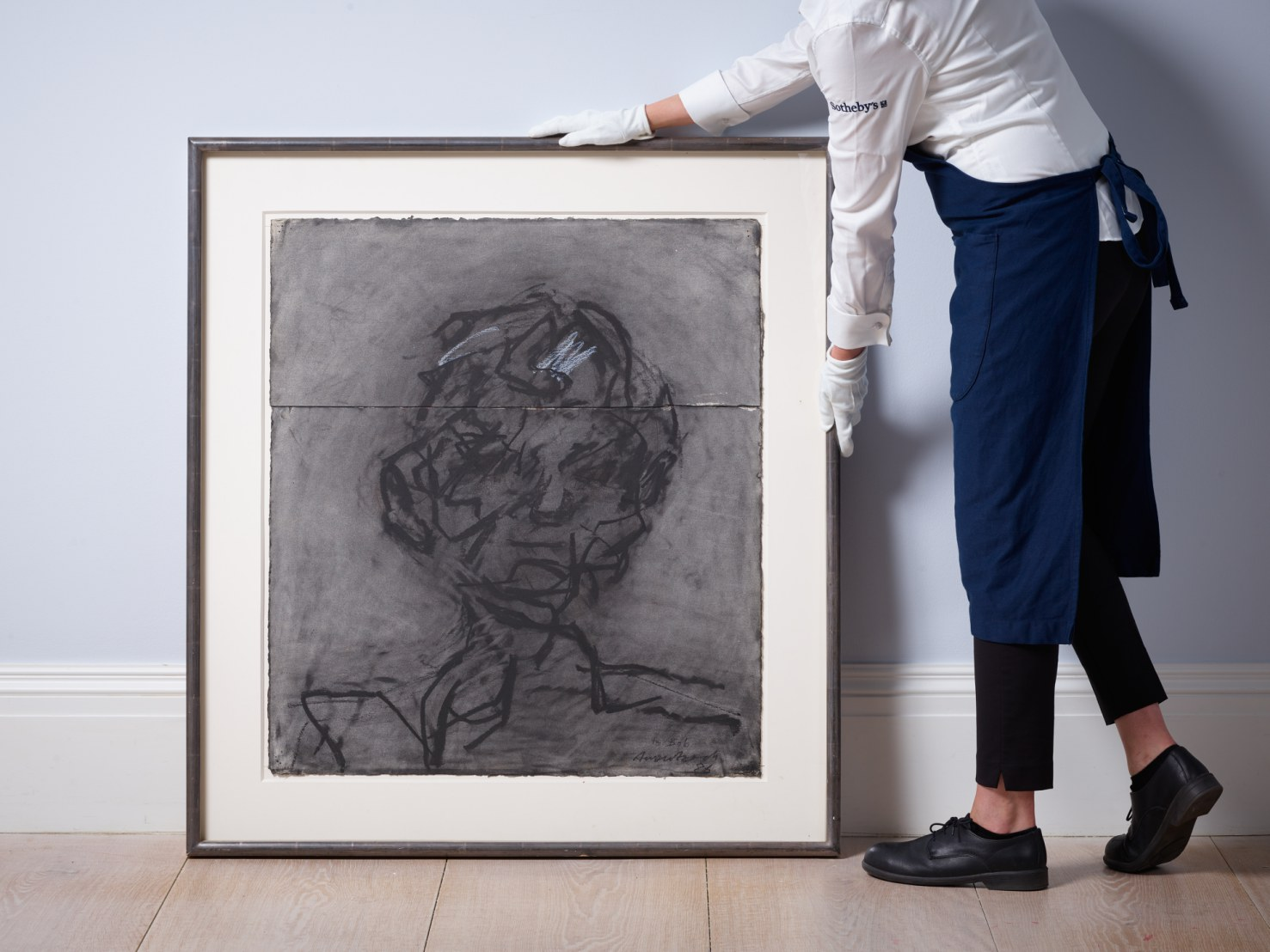 Lot 1- Frank Auerbach, Head of Robert Hughes, charcoal and white chalk on two joined pieces of paper, 1986,.jpg