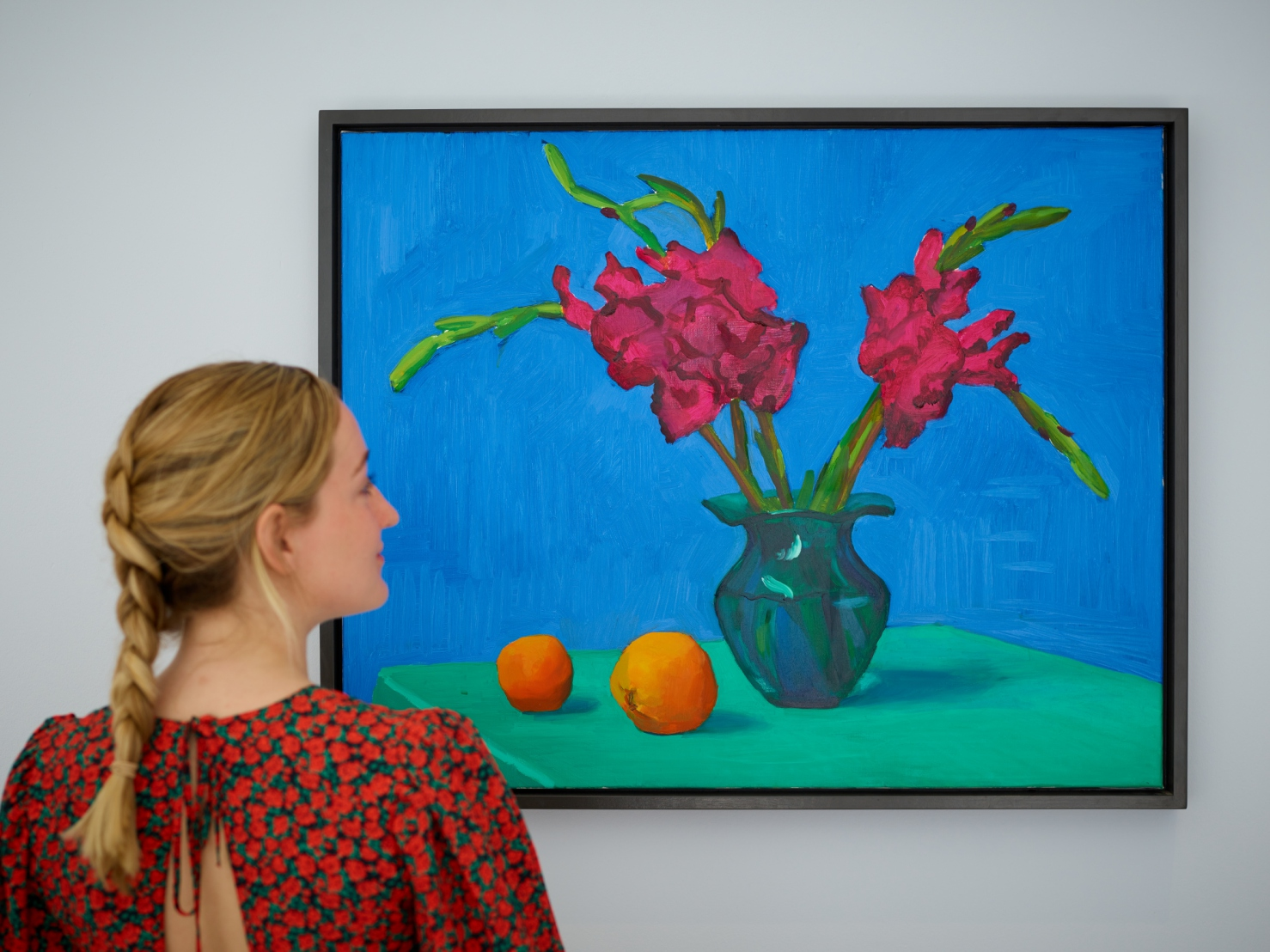 Lot 4- David Hockney, Gladioli with Two Oranges, 1996, est_ 1,500,000- 2,000,000 in situ.jpg