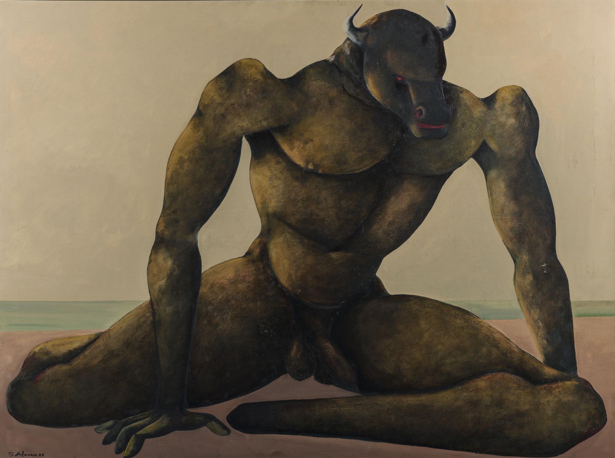 Lot-108,-Bahman-Mohasses,-Minotauro-sulla-riva-del-Mare,-1977,-oil-on-canvas-(est.jpg