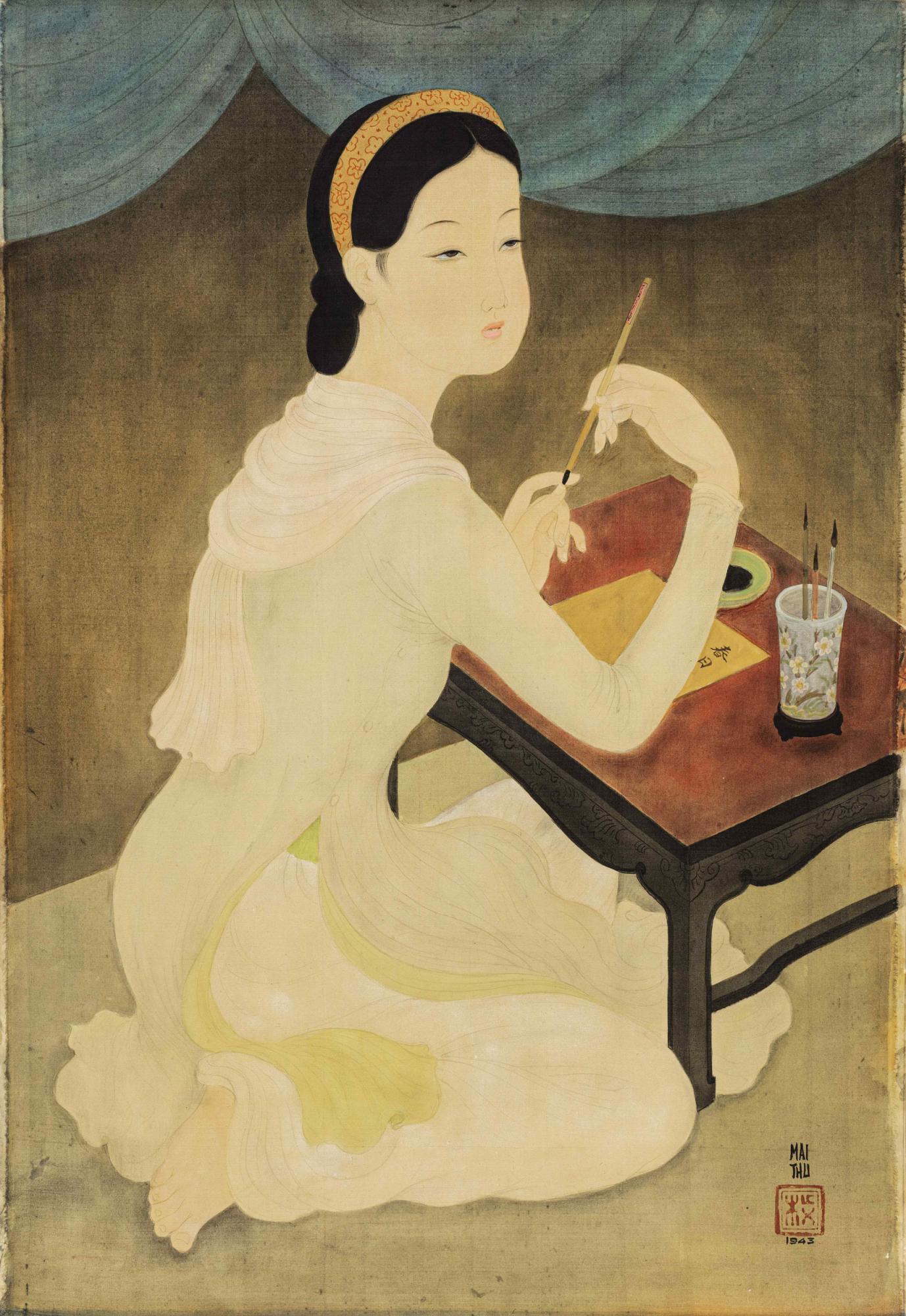 梅忠恕《作詩的仕女》,水墨水粉絹本,一九四三年作,73 x 50.3 公分,估價:3,200,000 - 4,000,000 港元。