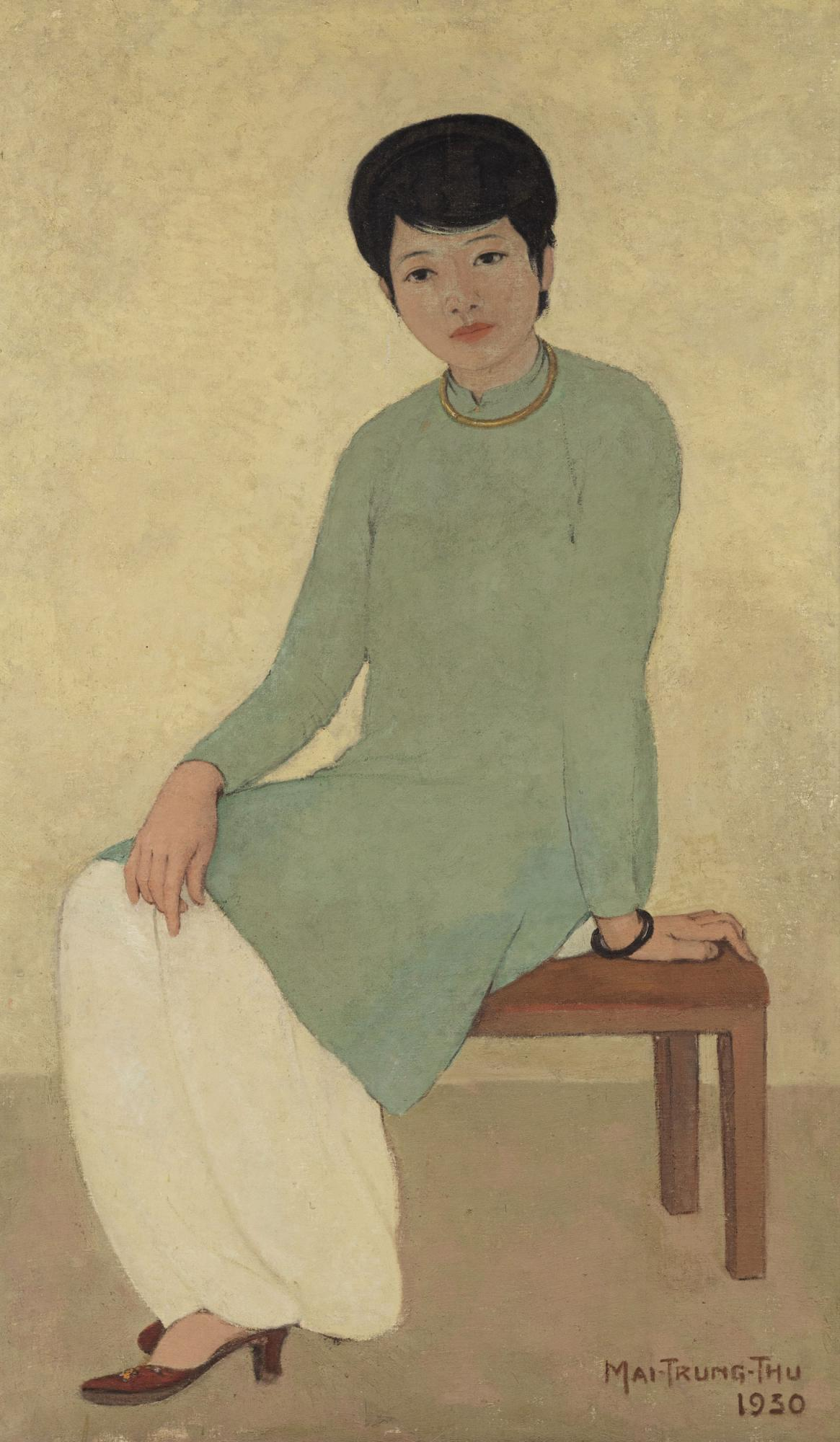 梅忠恕《芳小姐的肖像》,油畫畫布,一九三〇年作,135.5 x 80 公分,估價:7,500,000 - 9,300,000 港元。