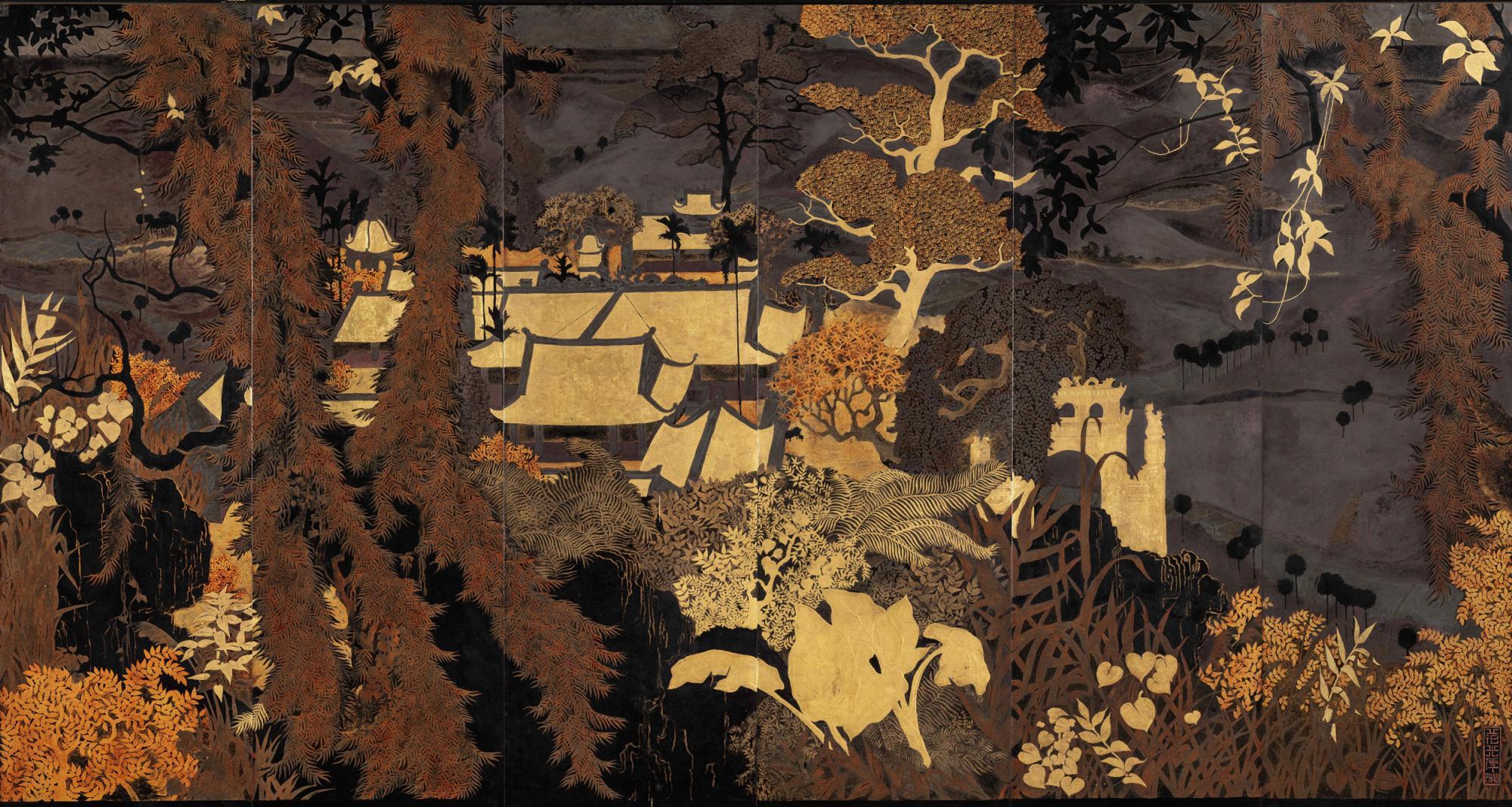 范光厚《越南北部古佛塔》,漆畫木板,六折地屏風,104.5 x 183 公分,估價:3,200,000 - 4,000,000 港元。