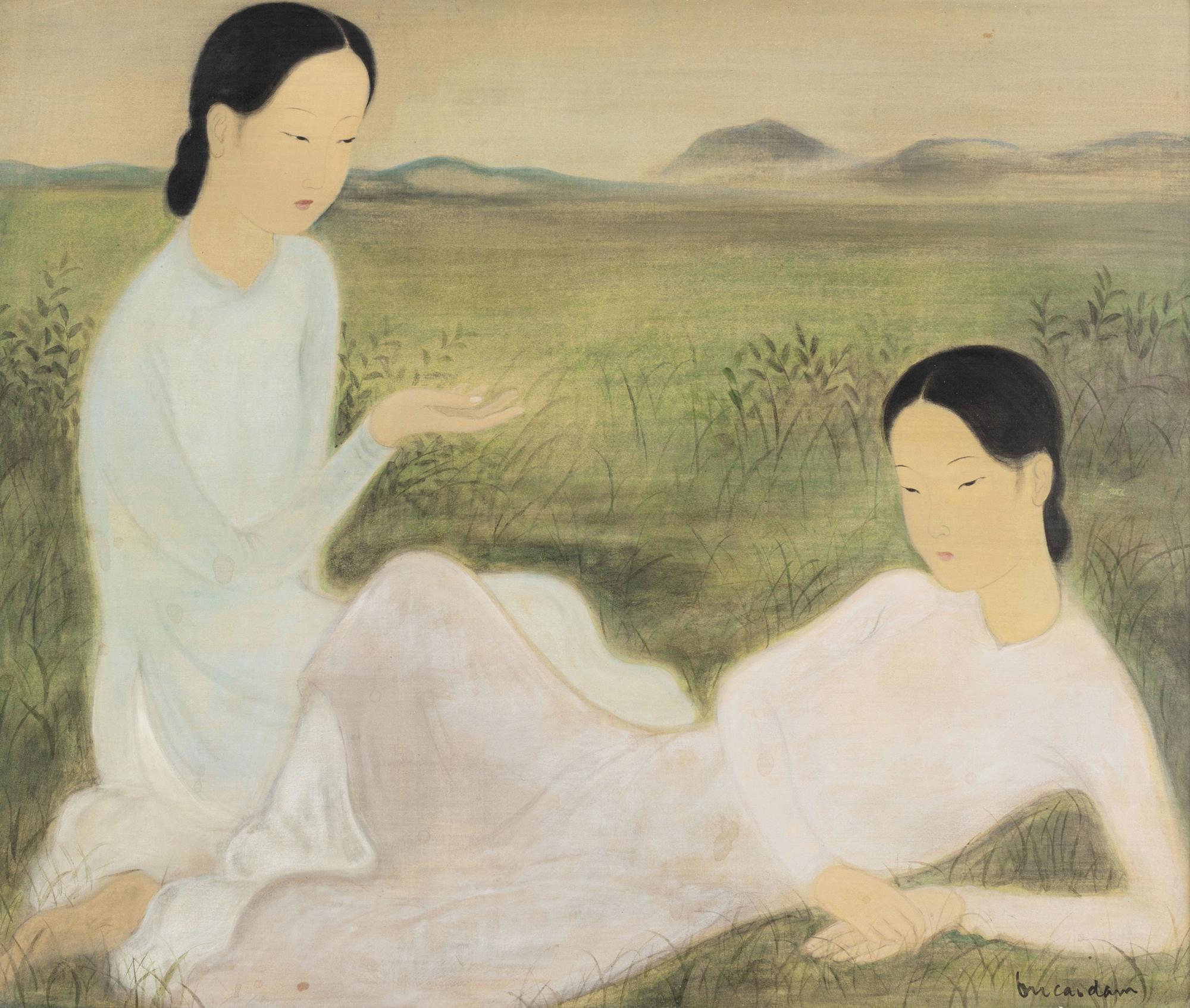 武高談《對話》,水墨水粉絹本,約一九四〇年代作,46 x 55 公分,估價:2,000,000 - 3,000,000 港元。