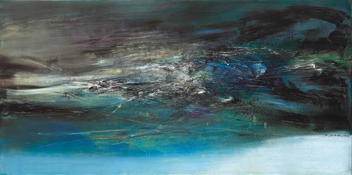 趙無極,《18.11.66》, 97 x 195公分,油彩 畫布,1966 。