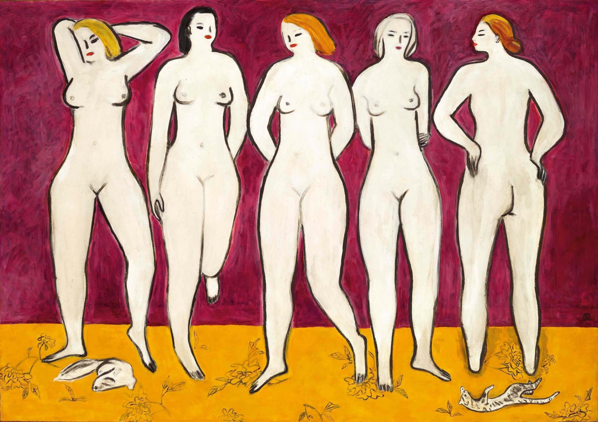 常玉 (1895 - 1966) 《五裸女》 油彩 纖維板 120 x 172 公分 (47 1/4 x 67 3/4 吋) 1950年代作 港幣250,000,000-550,000,000 / 美元33,000,000-70,000,000