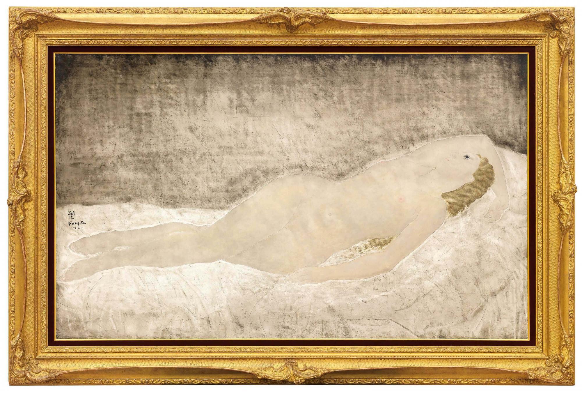 俄羅斯重要私人收藏 藤田嗣治 (1886-1968) 《躺臥的曲臂裸女》 油彩 畫布 89 x 146 公分 (35 x 57 1/2 吋) 1924 年作 港幣25,000,000 – 35,000,000 / 美元 3,300,000 – 4,500,000