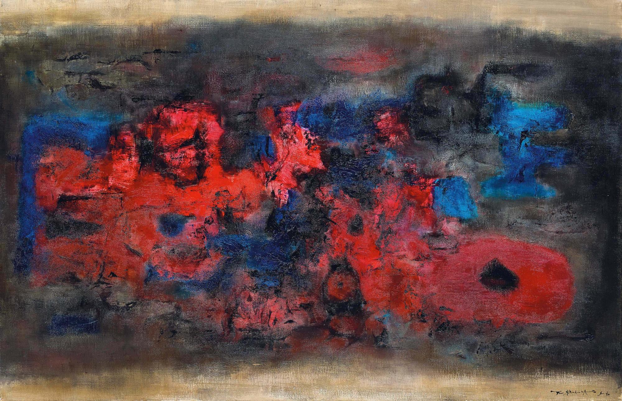 趙無極 (1920-2013) 《甦醒的城市》 油彩 畫布 65 x 100.2 公分 (25 5/8 x 39 1/2 吋) 1956 年作 港幣30,000,000 – 40,000,000 / 美元3,900,000 – 5,100,000