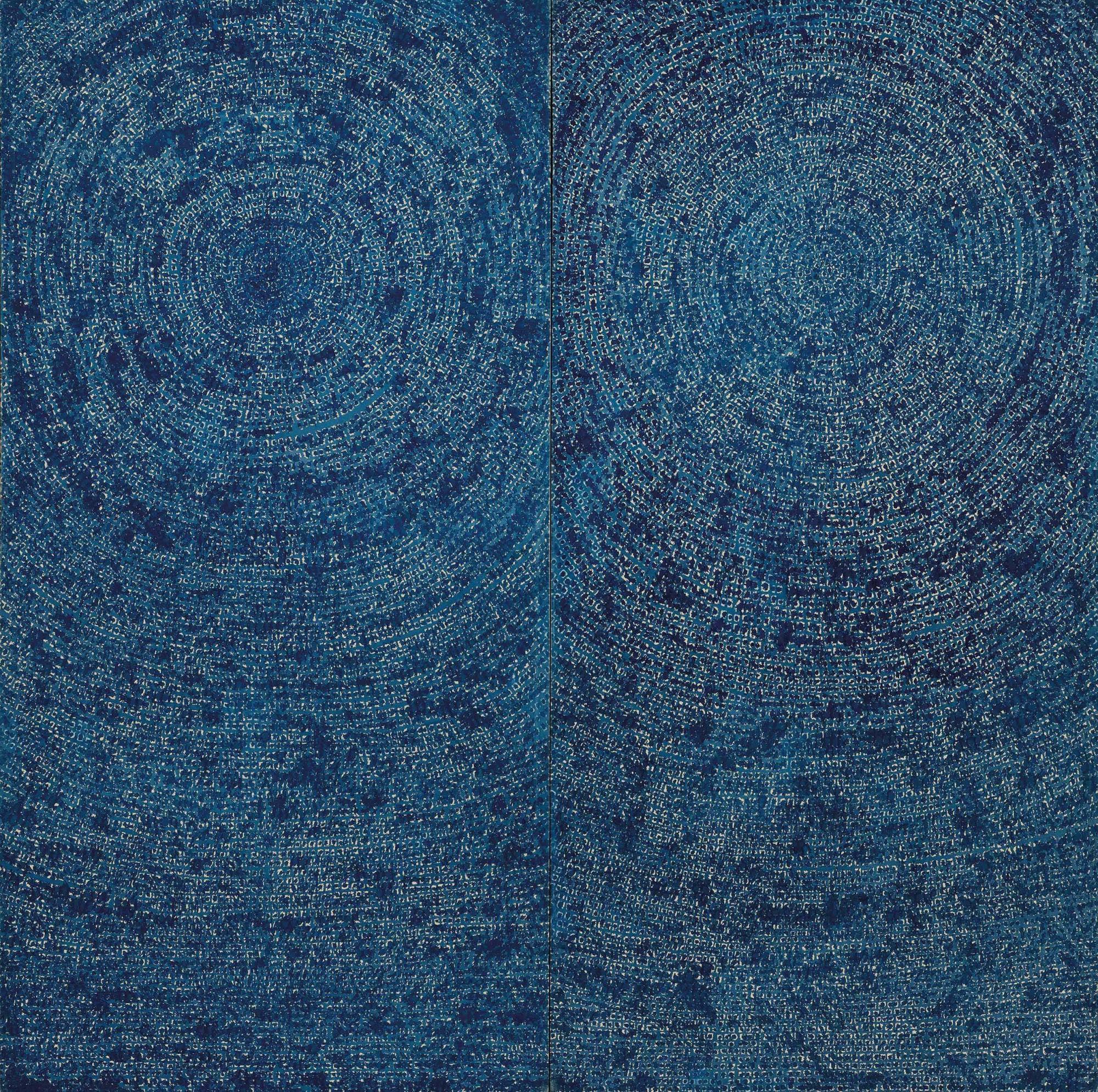 MATTHEW KIM與CHAE KUM KIM珍藏 金煥基 (1913-1974) 《05-IV-71 #200(宇宙)》 油彩 棉布 二聯作 每幅:254 x 127公分(100 x 50吋) 全幅:254 x 254公分(100 x 100吋) 1971年作 港幣48,000,000-62,000,000 /美元6,000,000-8,000,000