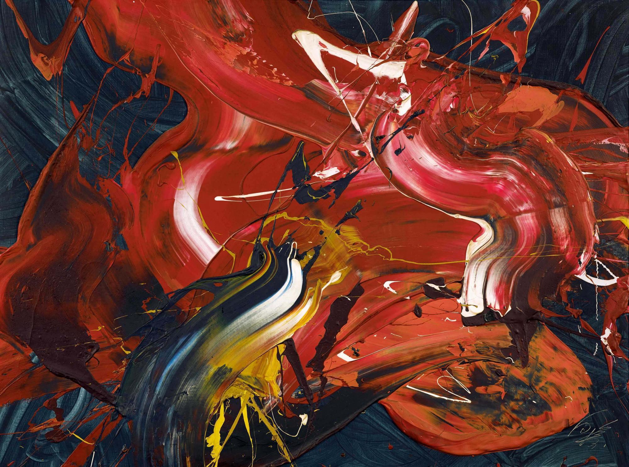 白髮一雄 (1924-2008) 《不動護摩供》 油彩 畫布 97.2 x 130.4 公分 (38 1/4 x 51 3/8 吋) 1974年作 港幣8,000,000 – 12,000,000 / 美元1,100,000 – 1,500,000