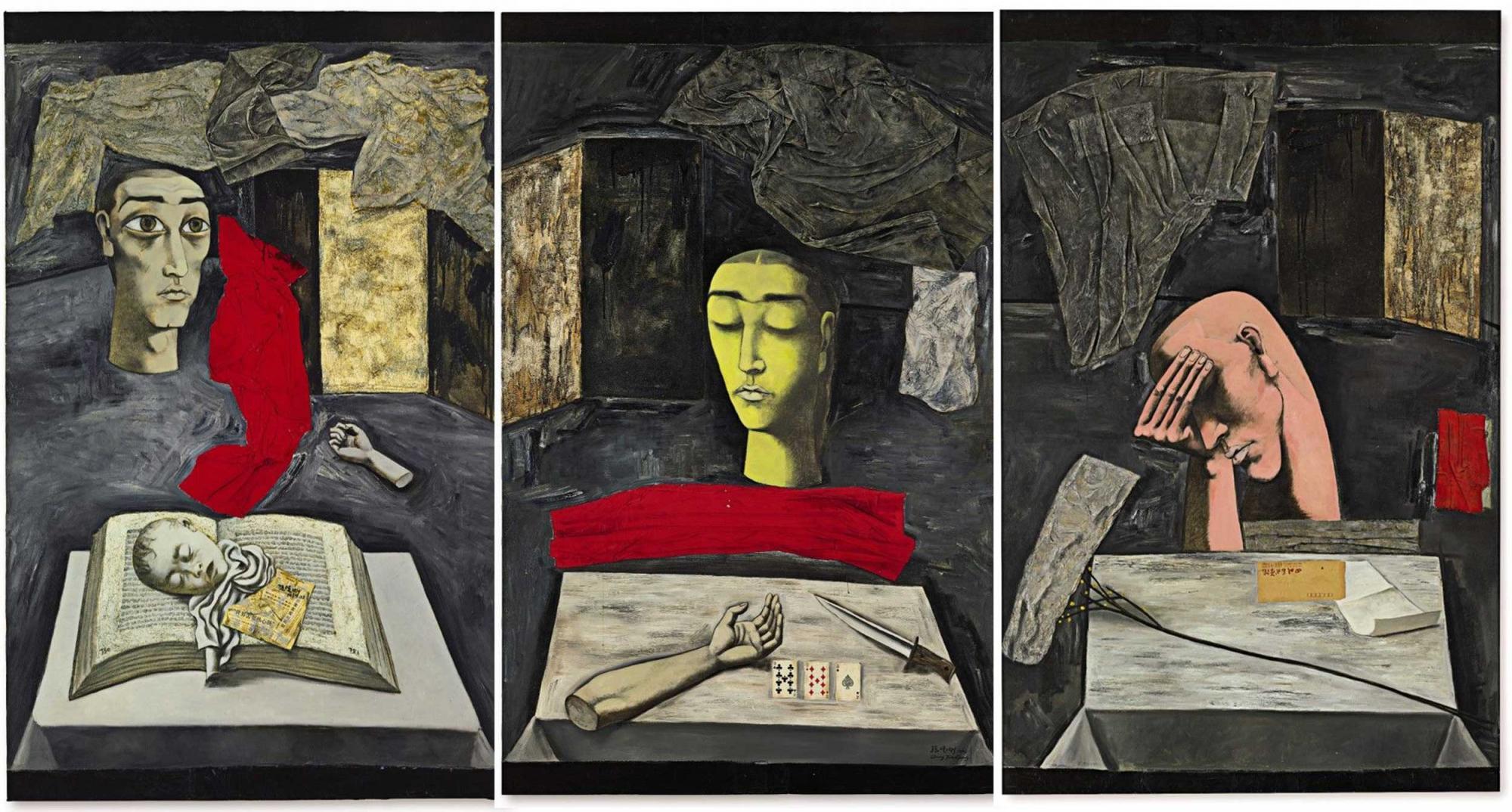 Zhang-Xiaogang--The-Dark-Trilogy-Fear-MeditationSorrow-combined.jpg