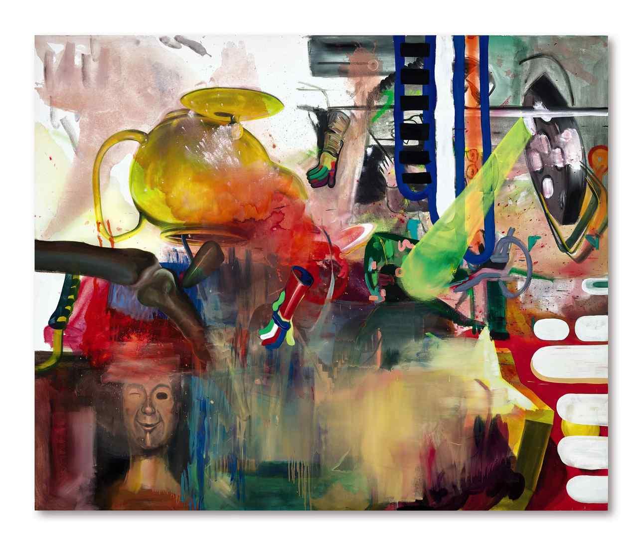阿爾伯特・爾萊恩(Albert Oehlen)《哨聲》 2001年作,油畫噴瓷漆畫布,280 x 340.5公分