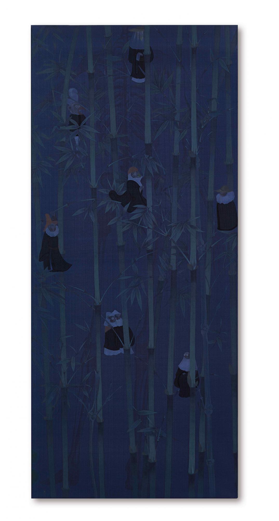 郝量 《竹林七賢》 2010年作,水墨絹本 159.2 x 70 公分