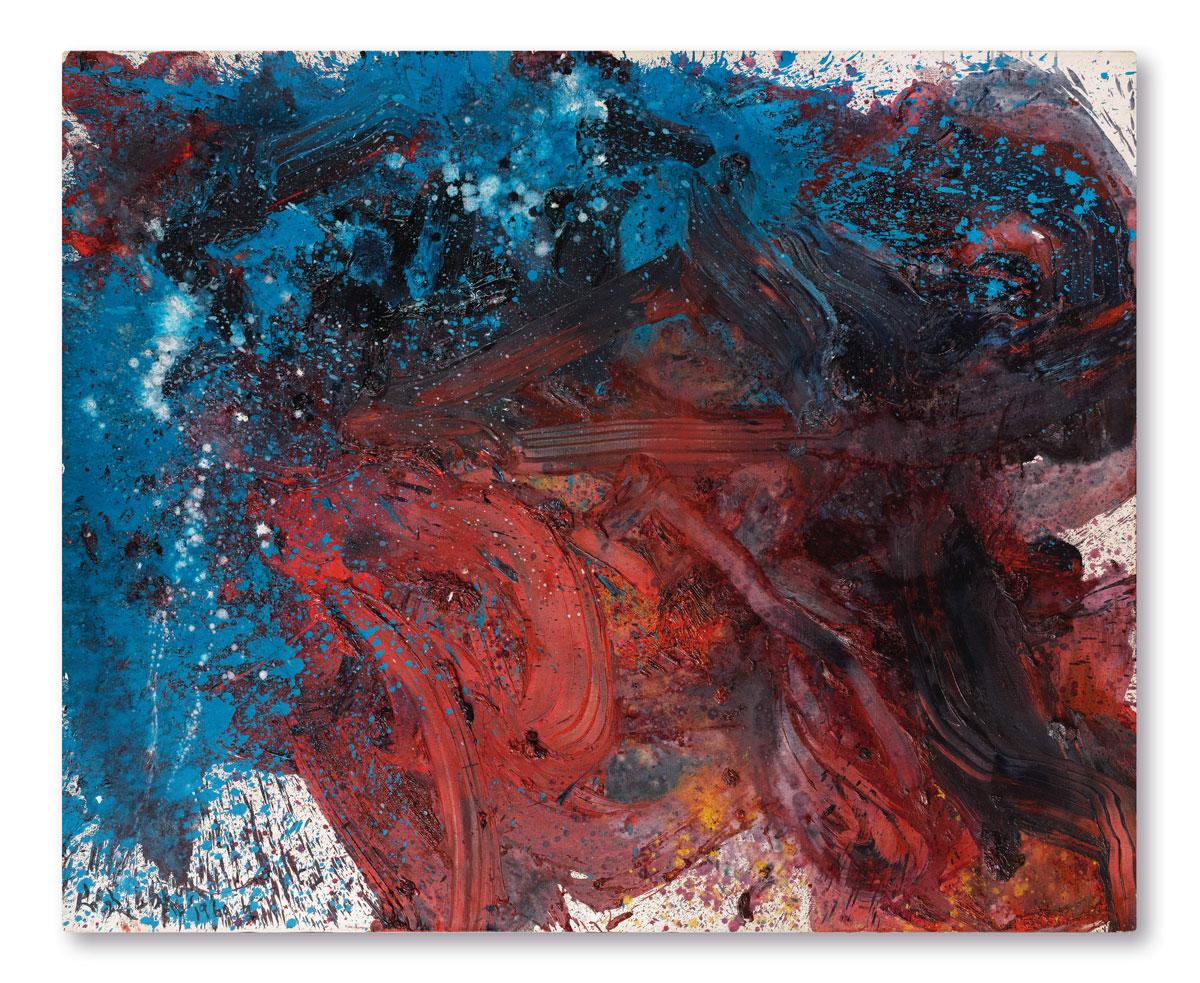 白髮一雄《地退星翻江蜃》 1960年作,油畫畫布,130 x 162公分