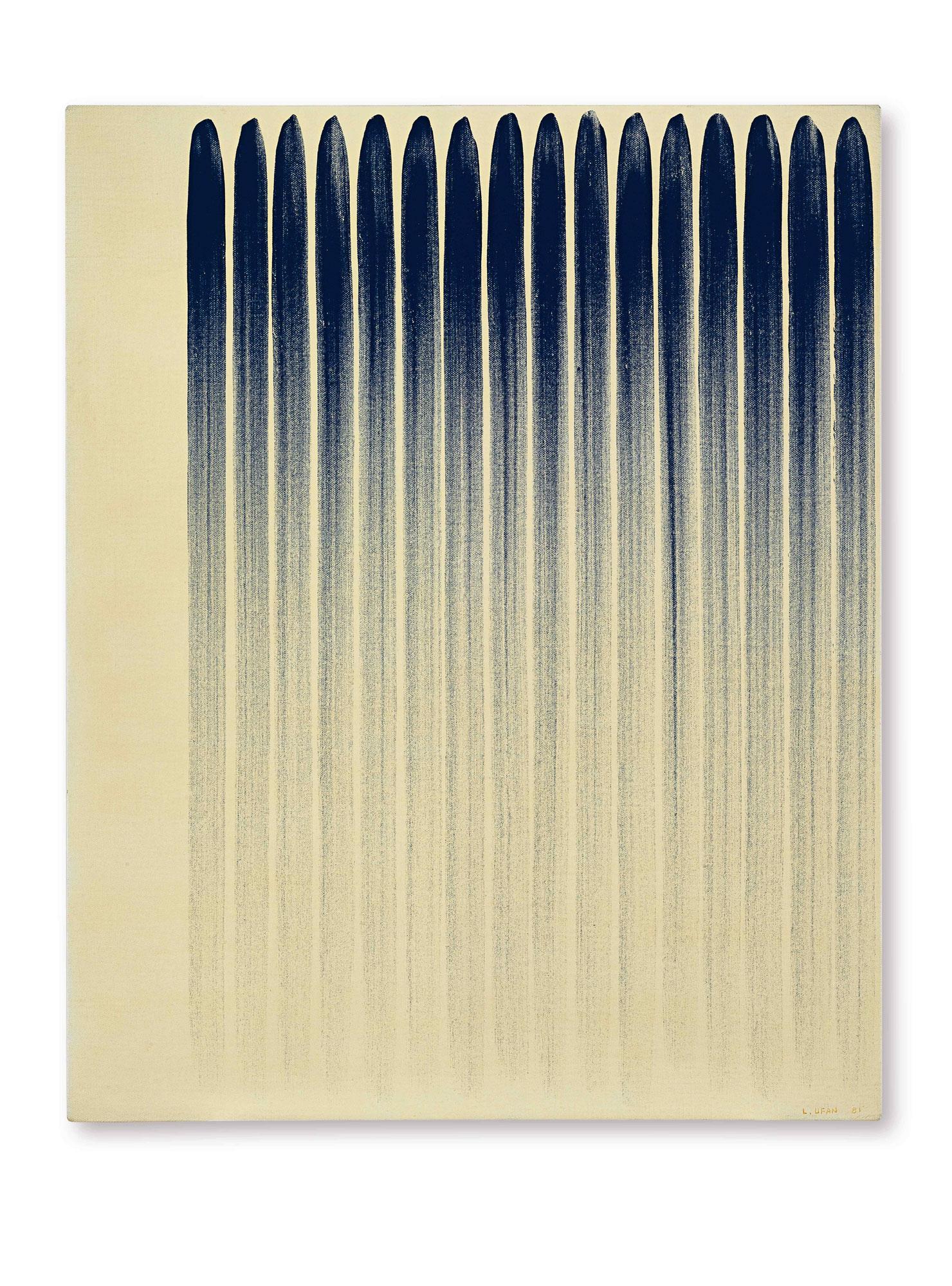 李禹煥 《從線8103》 1981年作,油畫及礦物顏料畫布 100 x 80.5 公分ee-Ufan_From-Line-8103-s.jpg