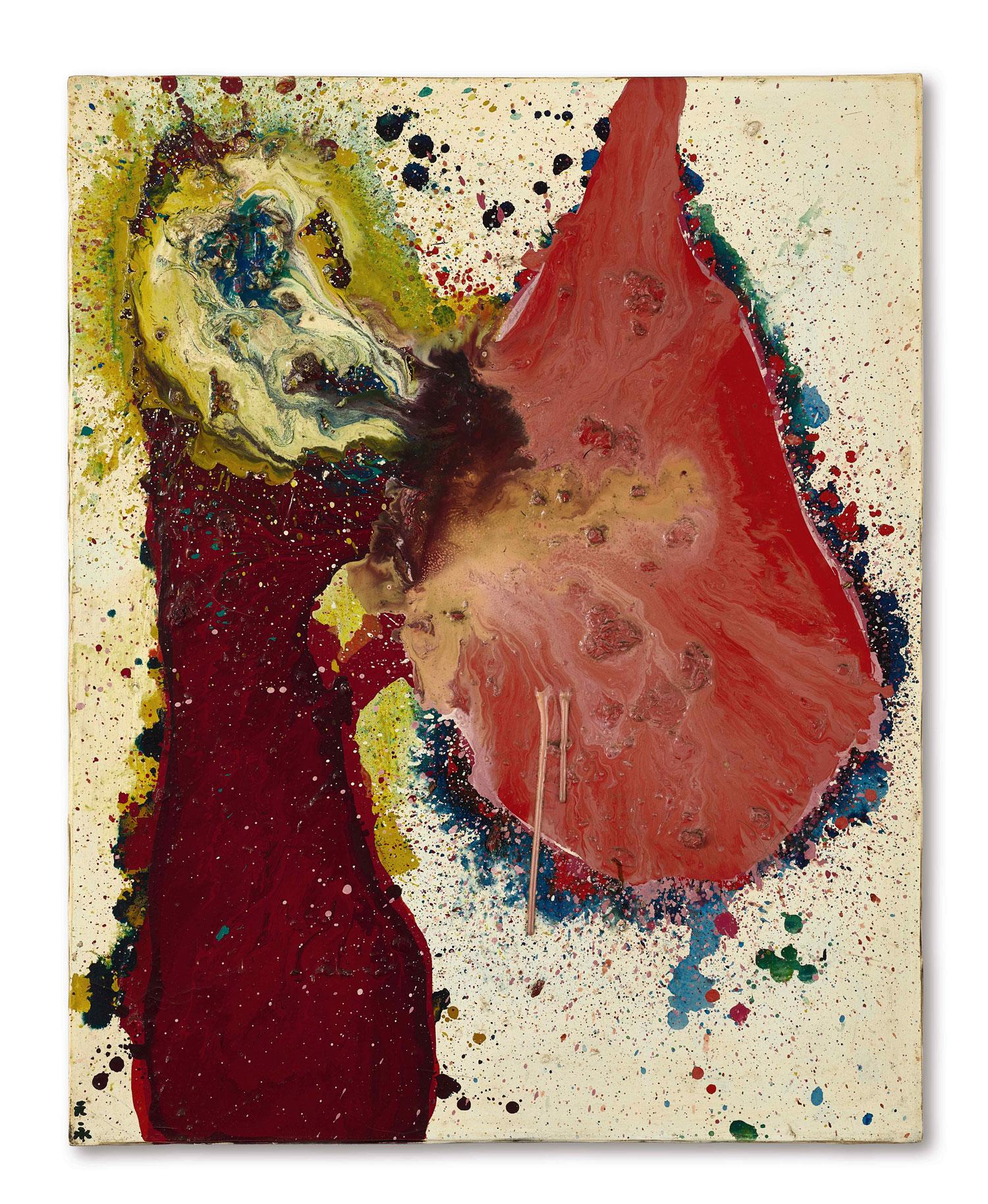 元永定正《作品》 1964年作,油畫畫布,91 x 73公分