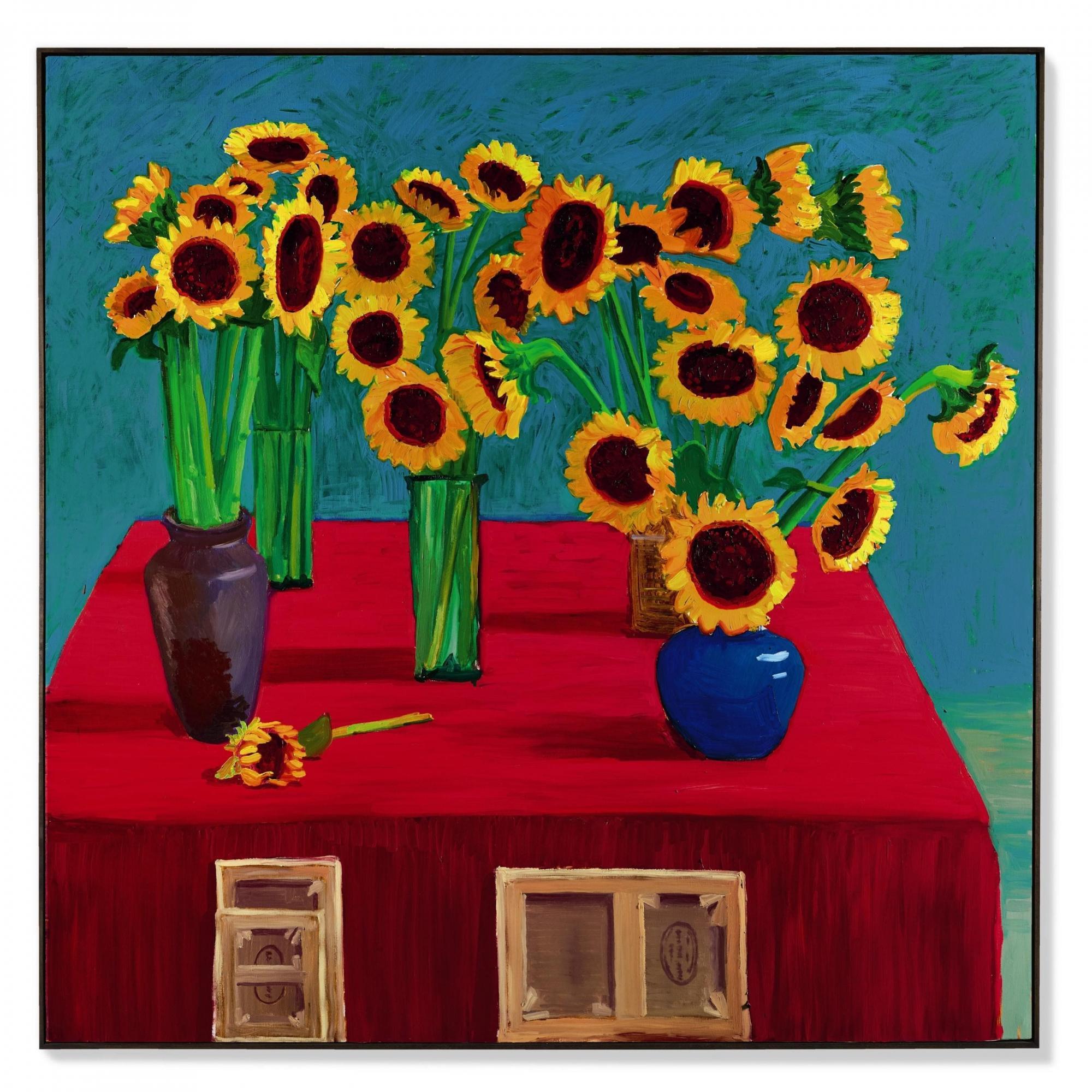 大衛・霍克尼(David Hockney)《三十朵向日葵》 1996年作,油畫畫布,182.9 x 182.9 公分