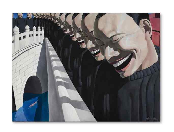 岳敏君《金魚》 1993年作,油畫畫布,180 x 247 公分