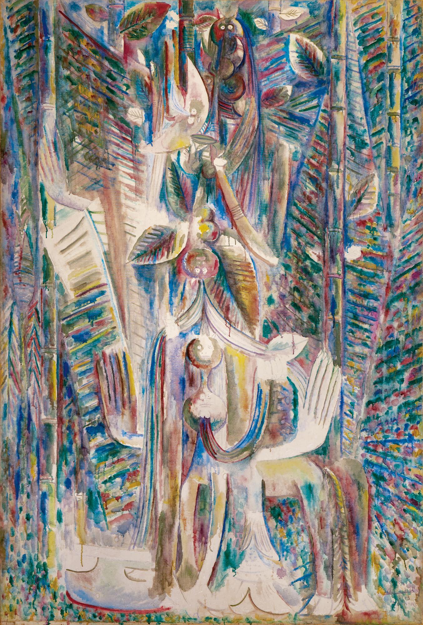 林飛龍(Wifredo Lam),《Omi Obini》,1943。