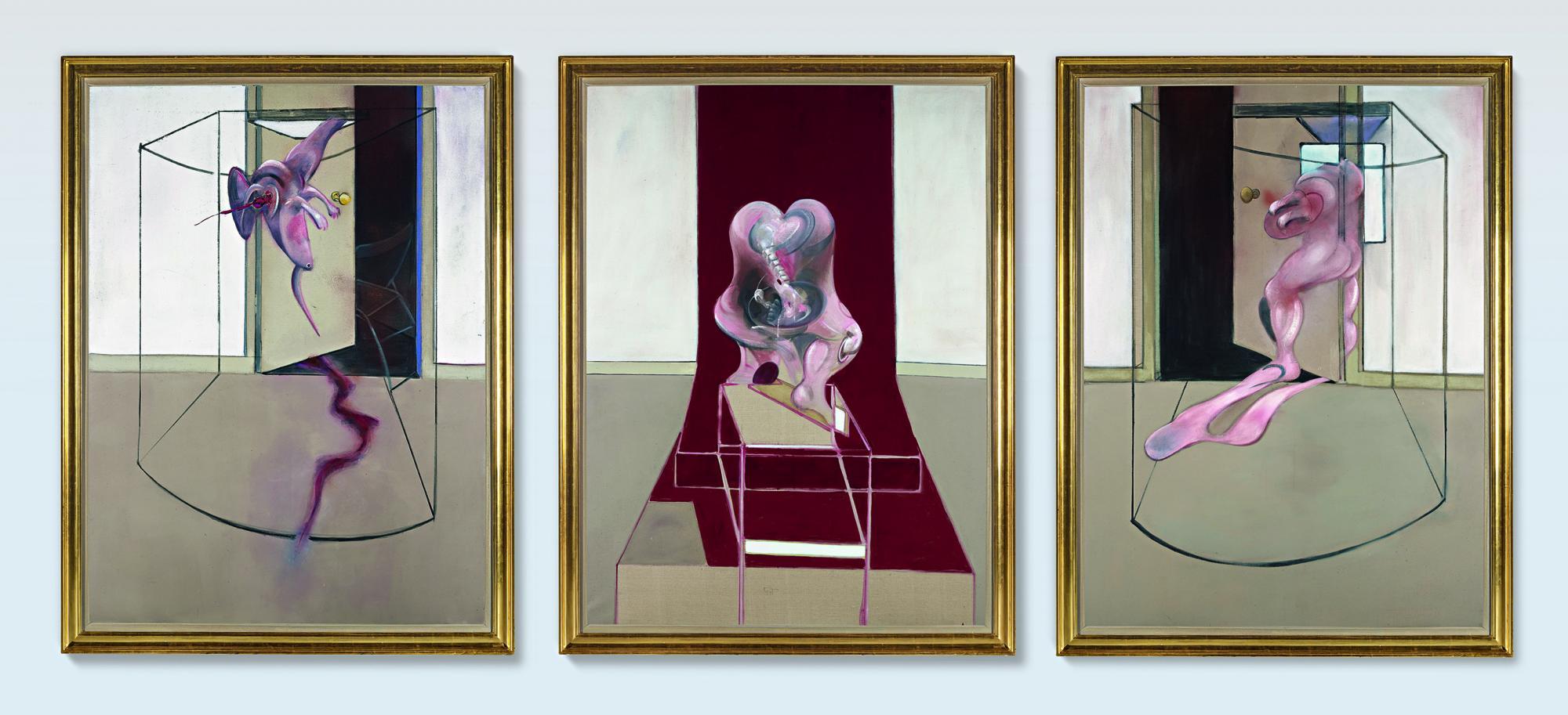弗朗西斯・培根(Francis Bacon),《啟發自艾斯奇勒斯〈奧瑞斯提亞〉之三聯作(Triptych Inspired by the Oresteia of Aeschylus)》,1981。