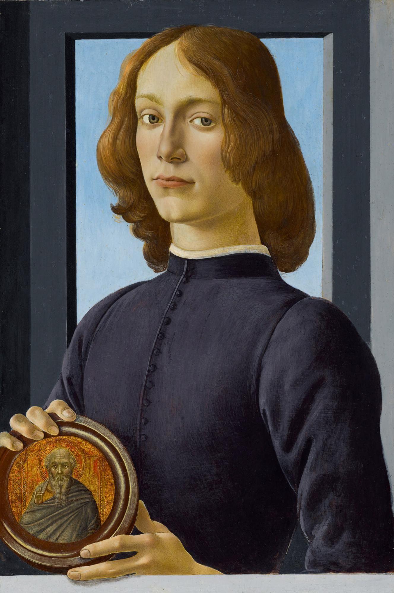波提切利,《手持圓形聖像的年輕男子》細節。