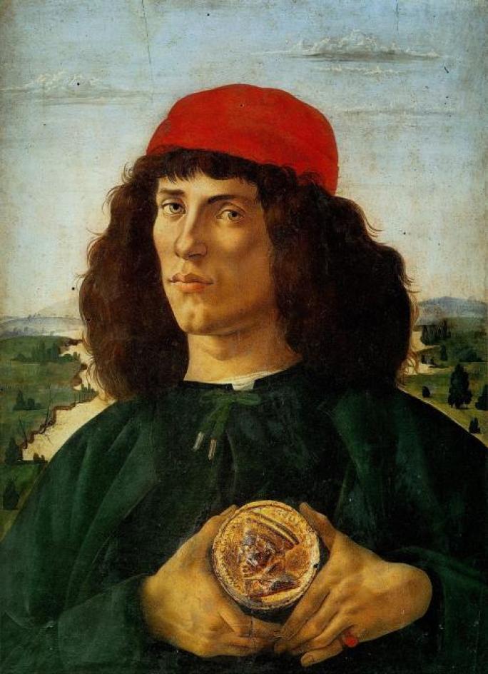 波提切利,《手持科西莫・德・美第奇頭章的年輕男子肖像》,1470年代末至1480年代初。