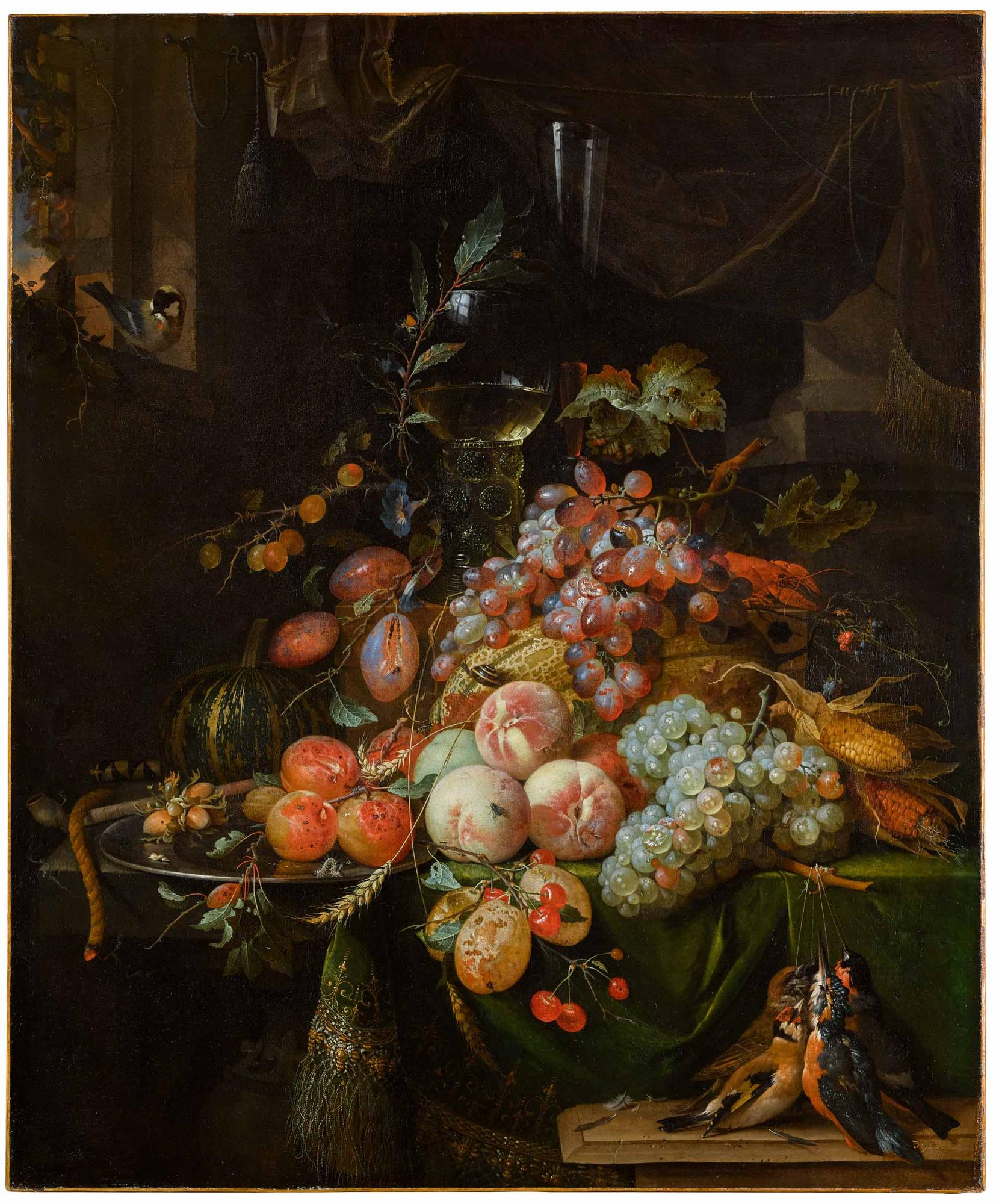 Lot-60-Abraham-Mignon-Still-Life-with-Plums-Peaches-Apricot-Grapes-and-a-Melon-with-a-Roemer-Glass-and-a-Flute-Glass-all-on-a-Draped-Table-a-Goldfinch-on-the-Window-Sill.jpg